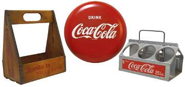 CocaCola button sign metal 12Dia  wood  metal