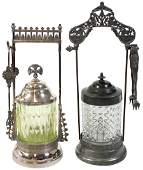 Pickle castors (2), Webster & Son silver-plated holder