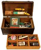 Fishing, wood tackle box w/contents, 1937 South Bend
