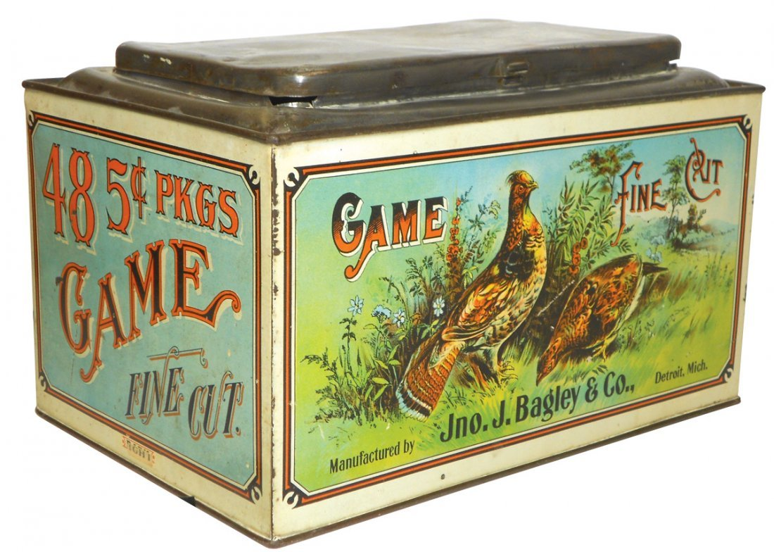 Tobacco tin, Game Fine Cut, mfgd by Jno. Bagley &