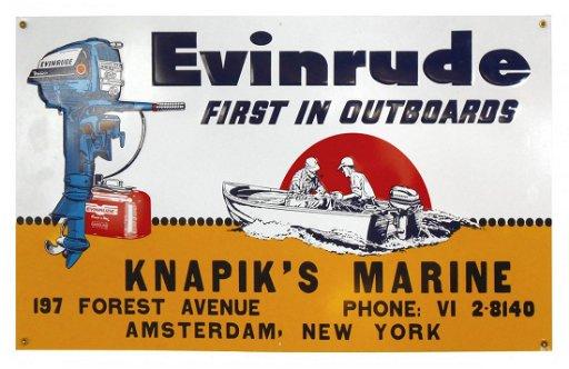 Boat motor sign, Evinrude Outboard Motors, Knapik's