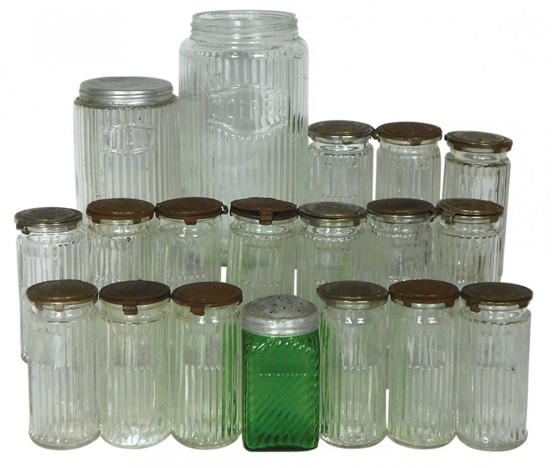 Kitchen cabinet jars (19),  Hoosier spice jars