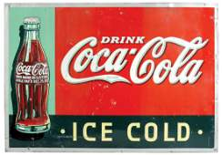Coca-Cola sign, Drink Coca-Cola, Ice Cold, embossed