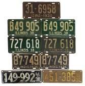 Automobilia license plates 9 1936 Illinois pair