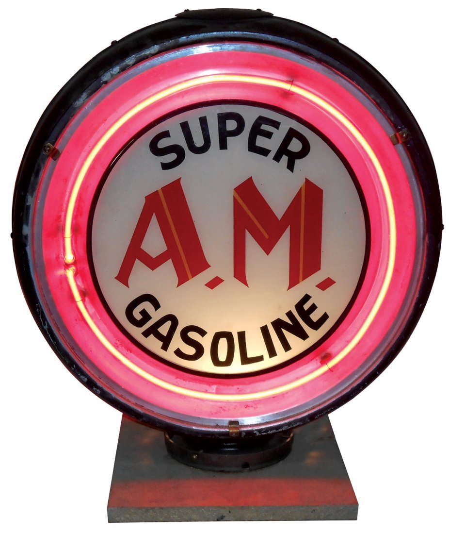 Petroliana, neon gasoline globe, A.M. Super Gasoline