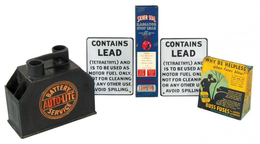 Automotive items (5), Auto-Lite Battery Service rubber