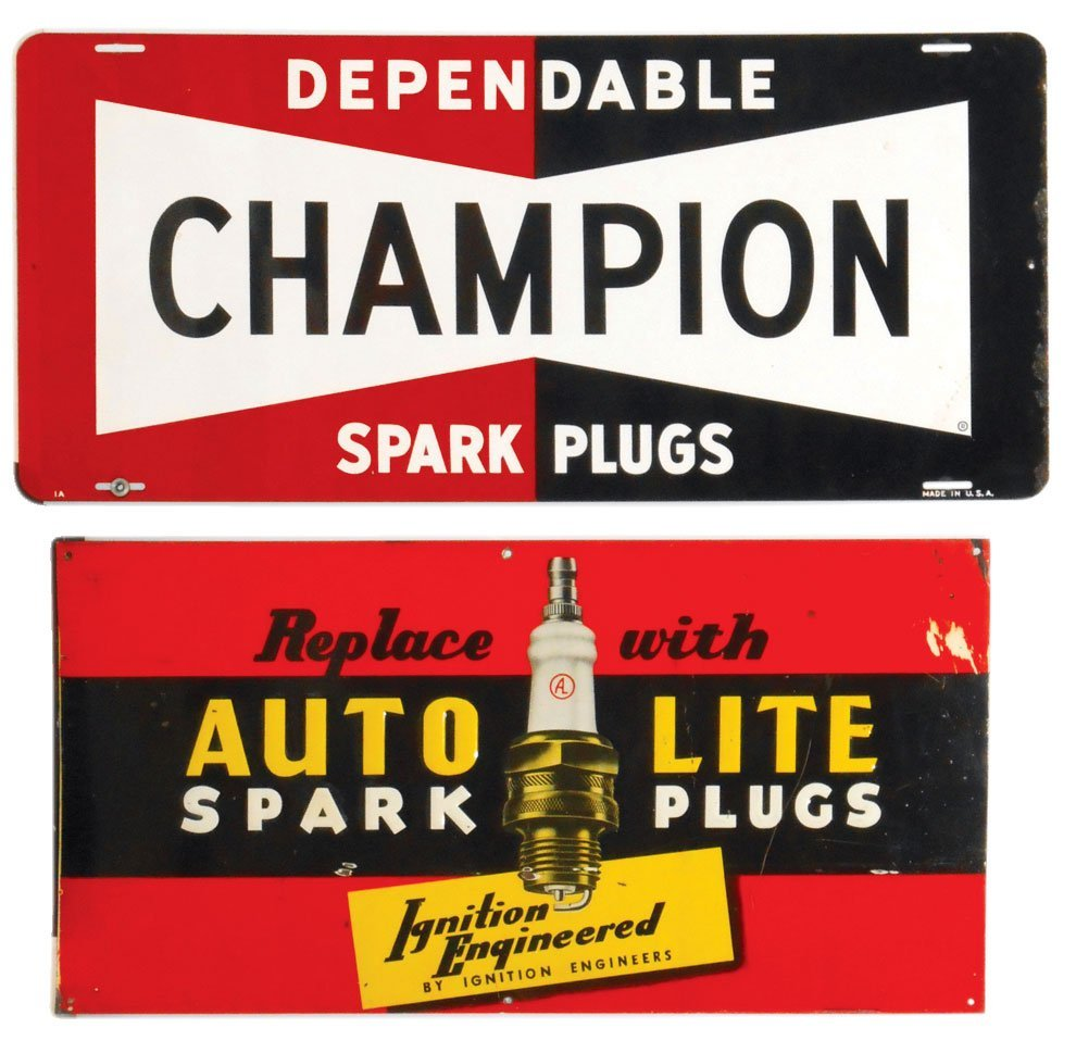 Automotive signs (2), Champion Spark Plugs & Auto-Lite