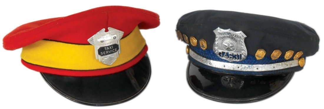 Automotive taxi cab hats (2), one w/Ruben Rivera Cab