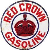 Petroliana sign, Red Crown Gasoline, 3-color porcelain