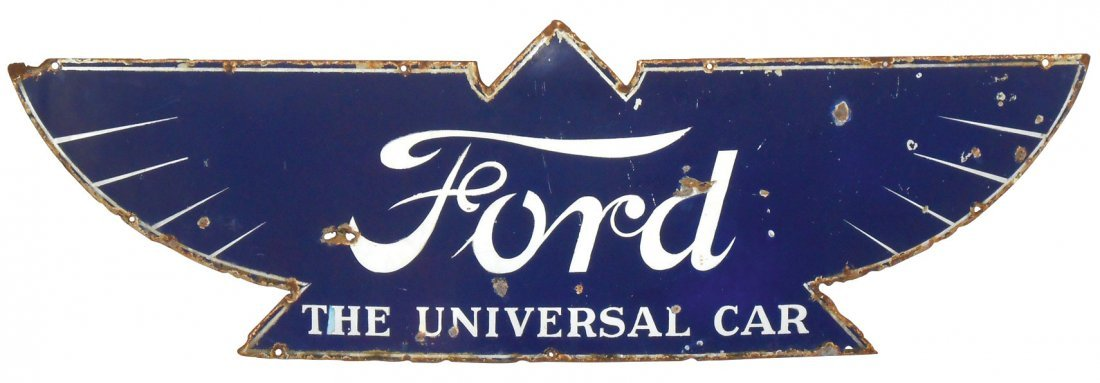 """Automotive sign, Ford """"The Universal Car"""", diecut"""
