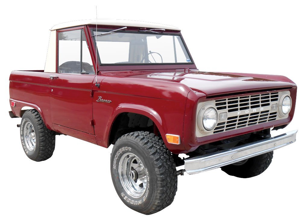 Pick-Up, 1968 Ford Bronco.  Maroon with beige top