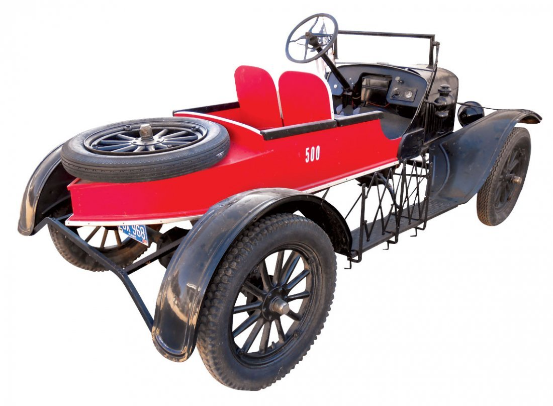 Automobile, 1923 Ford Model T Roadster. Black with red - 7