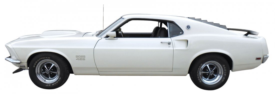 Automobile, 1969 Mustang Boss 429.  Wimbledon white