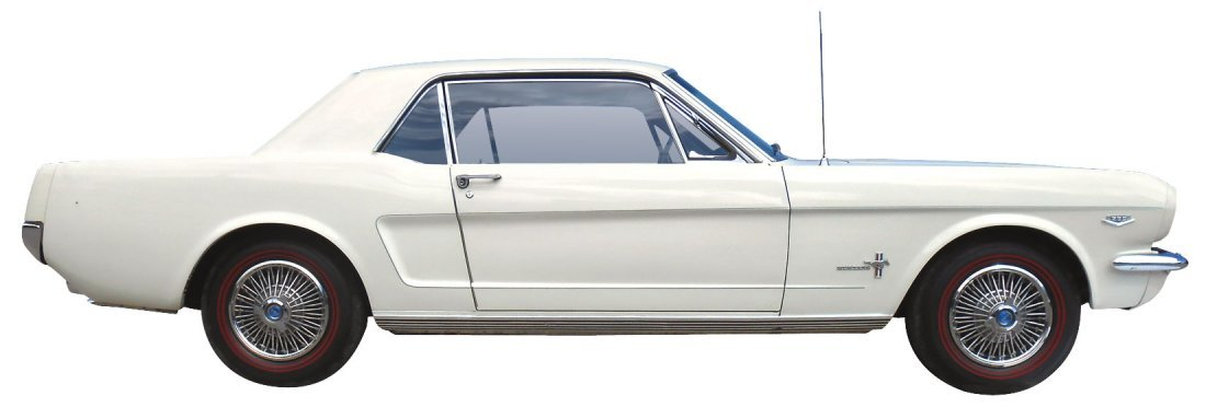 Automobile, 1966 Ford Mustang Coupe.  Wimbledon white,