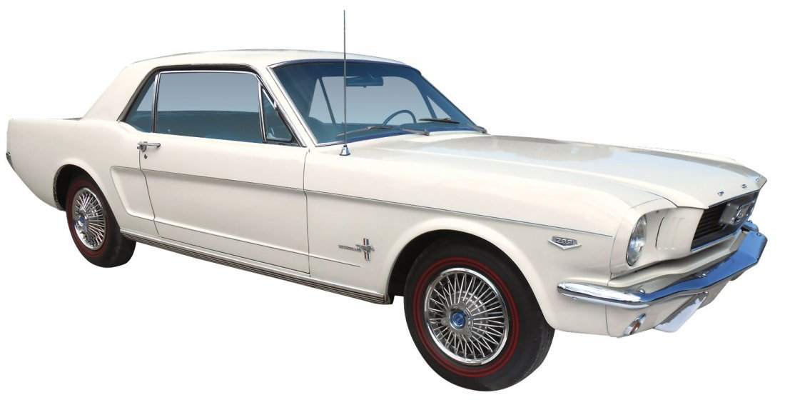 Automobile, 1966 Ford Mustang Coupe.  Wimbledon white, - 2
