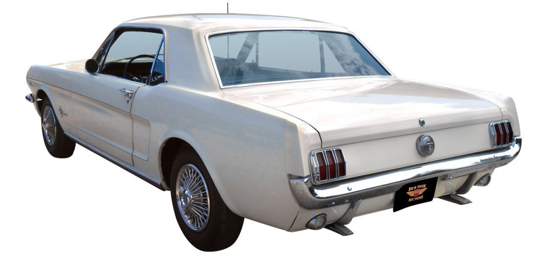 Automobile, 1966 Ford Mustang Coupe.  Wimbledon white, - 5