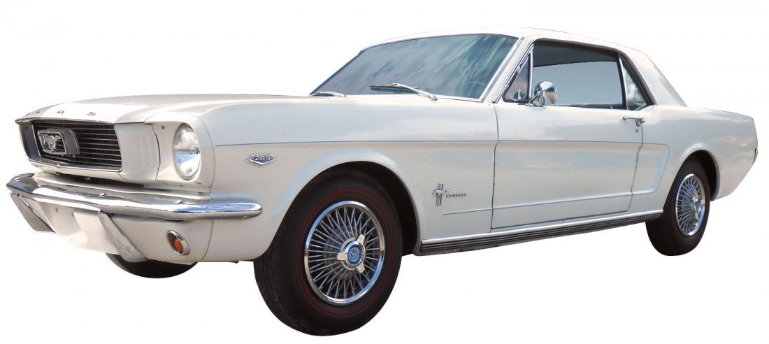 Automobile, 1966 Ford Mustang Coupe.  Wimbledon white, - 7