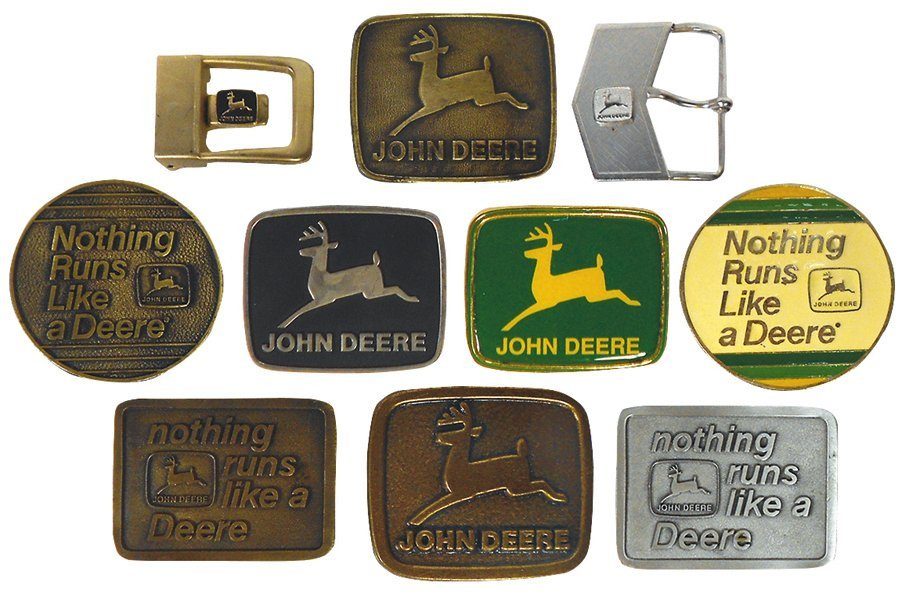 John Deere belt buckles (10), all w/2-legged deer, 1975