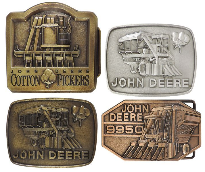 John Deere belt buckles (4), all Cotton Pickers, 2-row