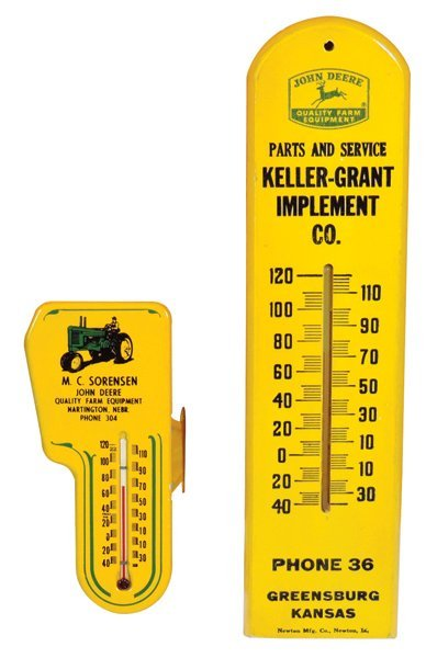 John Deere thermometers (2), Keller-Grant Impl.