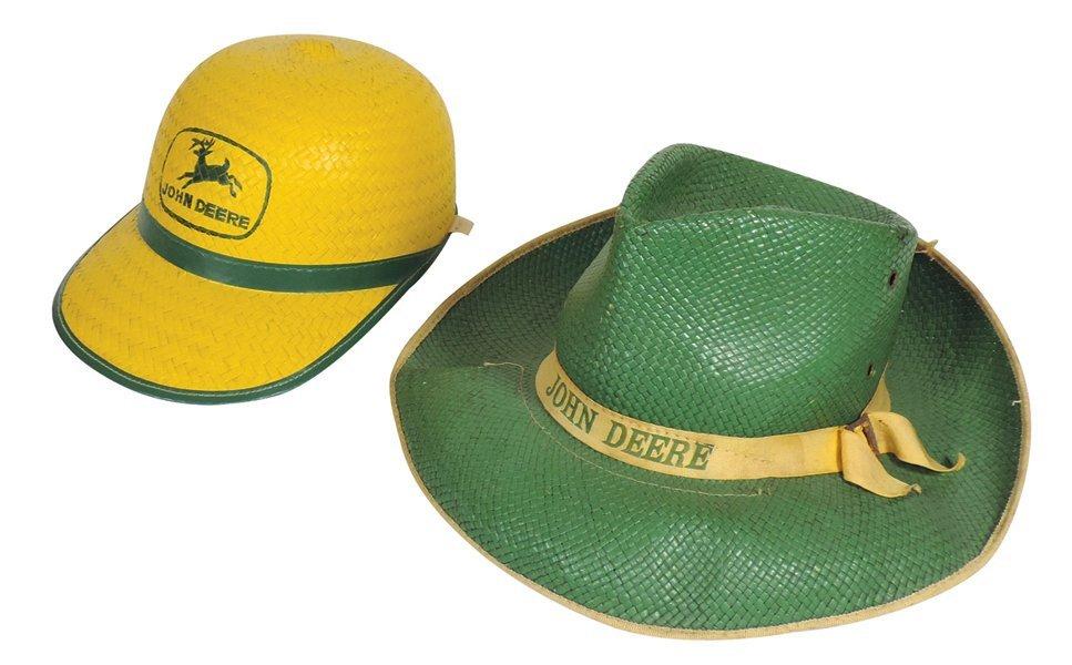 John Deere hats (2), straw cowboy hat w/yellow ribbon