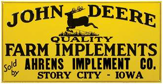 John Deere sign, Quality Farm Implements sold by Ahrens