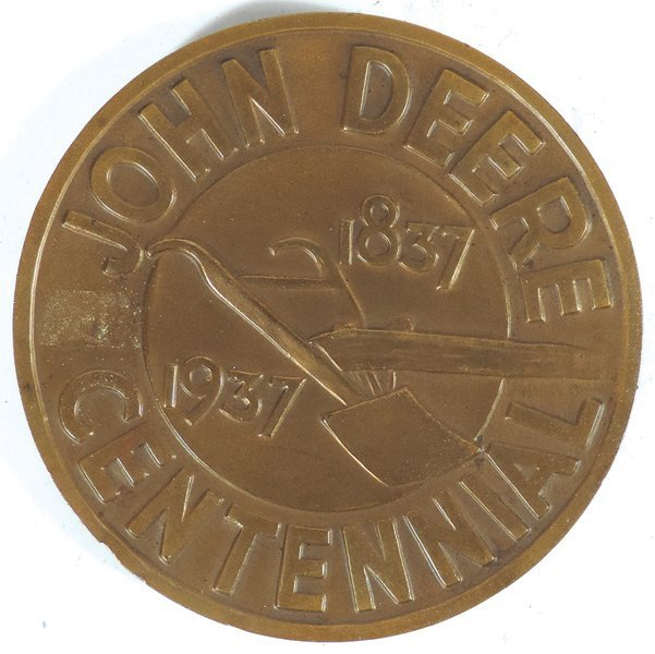 John Deere medallion, John Deere Centennial 1837-1937, - 2