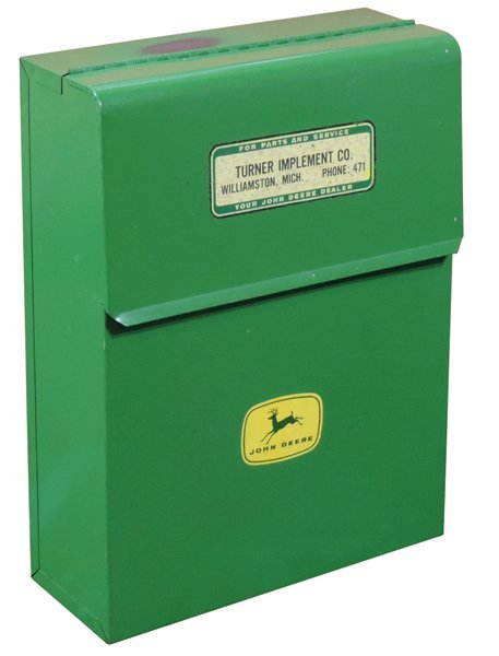 John Deere mailbox, green metal box that once held
