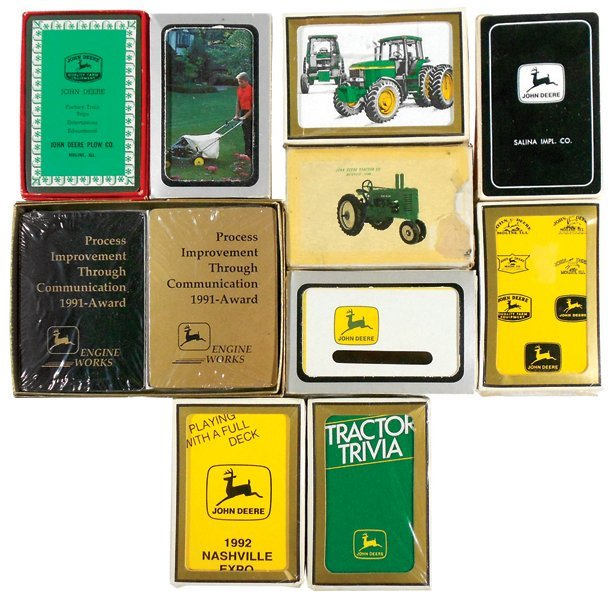 John Deere playing cards (11), decks w/assorted logos,