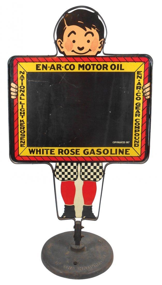 Petroliana curb sign, En-Ar-Co Motor Oil & White Rose