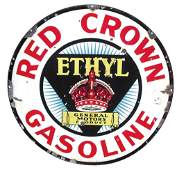 Petroliana sign, Red Crown Gasoline, double-sided