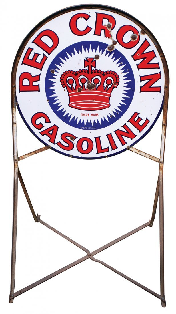Petroliana curb sign w/stand, Red Crown Gasoline,