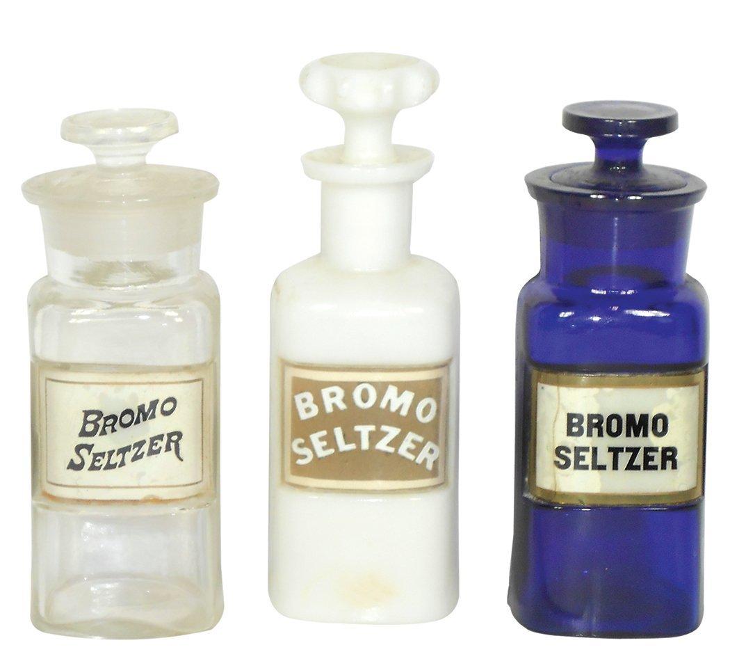 Drug store Bromo-Seltzer bottles (3), apothecary