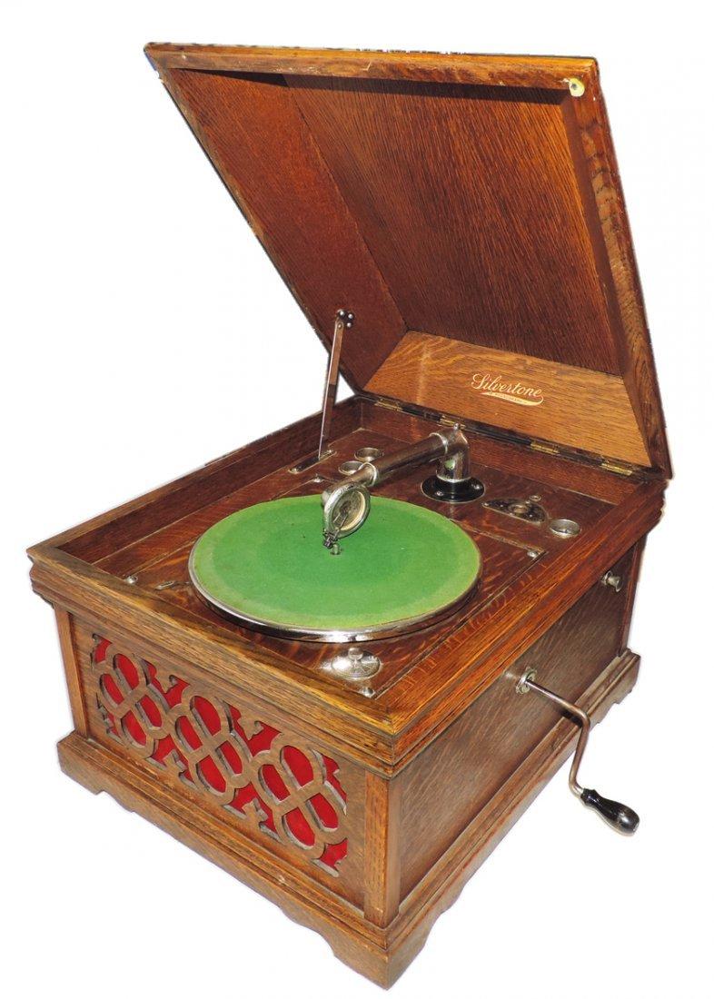 Silvertone phonograph, table top model, oak case, extra