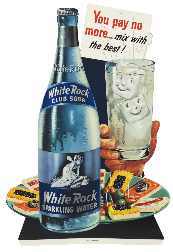 Soda fountain sign, White Rock Club Soda, diecut cdbd