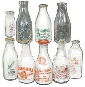 Milk Bottles (9), Butlers Dairy-willimantic, Ct;