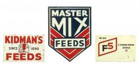 """Farm Signs (3), Master Mix Feeds, Vg+ Cond, 20""""h X 14""""w;"""