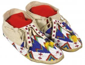 Native American Moccasins, Sioux, Beaded Deerskin,