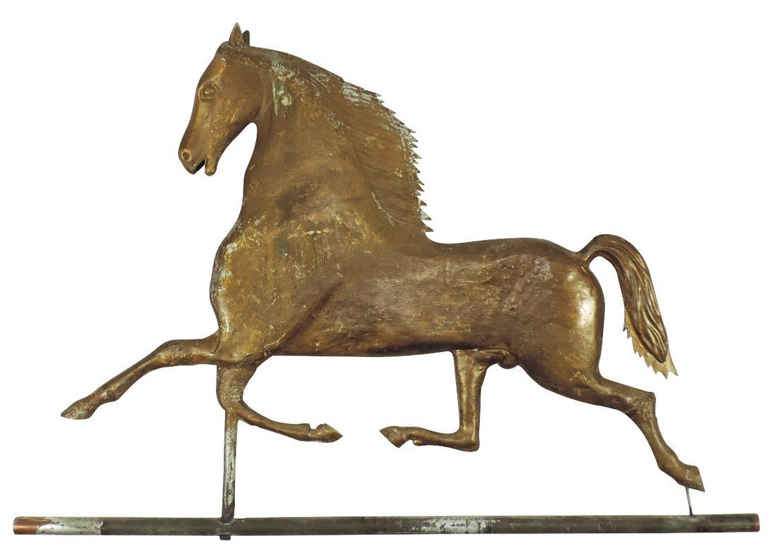 Weathervane, horse, running, molded copper w/early gilt