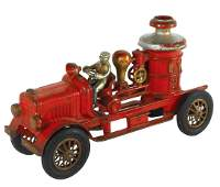 Toy fire pumper, Hubley, cast iron w/rubber tires, VG