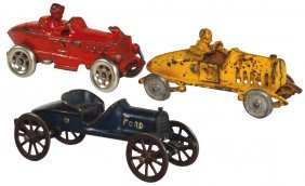 Toy Race Cars (3), (2) A. C. Williams Boat-tail Racers