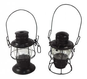 Railroad Lanterns (2), At & Sf W/embossed Glass Globe &
