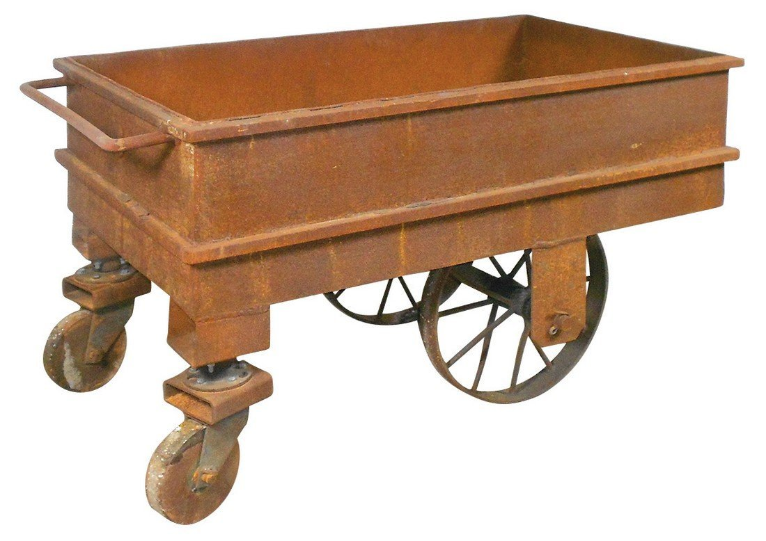 Industrial factory cart, all metal on iron wheels,