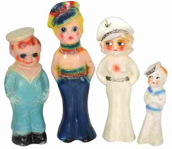 Carnival chalkware figures (4), Sailor Girls & Boys,