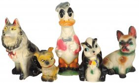 Carnival Chalkware Figures (5), Donald Duck, Flower The