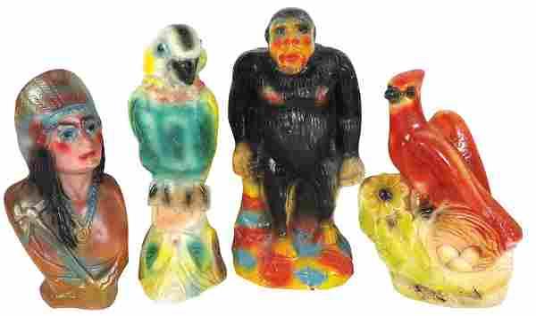Carnival chalkware figures (4), Indian bust, gorilla