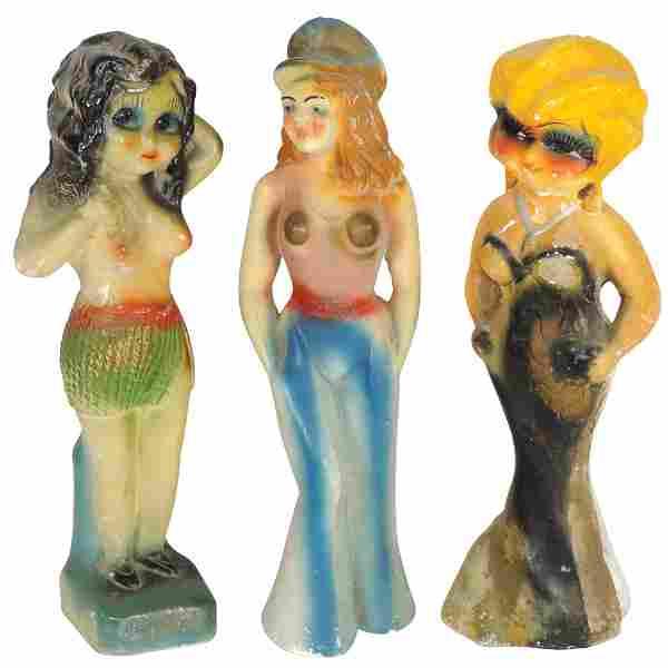 Carnival chalkware figures (3), Mae West, Hula Girl &