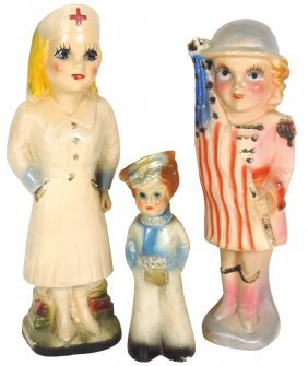 Carnival Chalkware Figures (3), Military Girl W/flag,