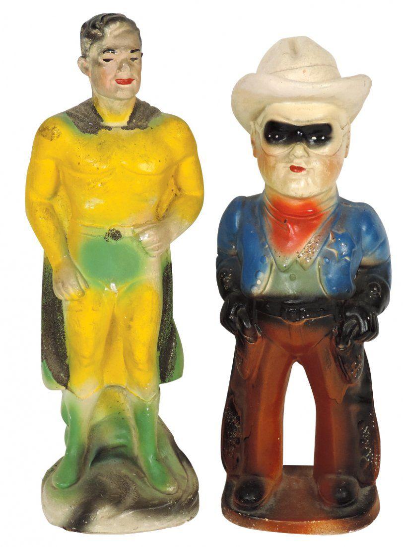 Carnival chalkware figures (2), Superman & Lone Ranger,