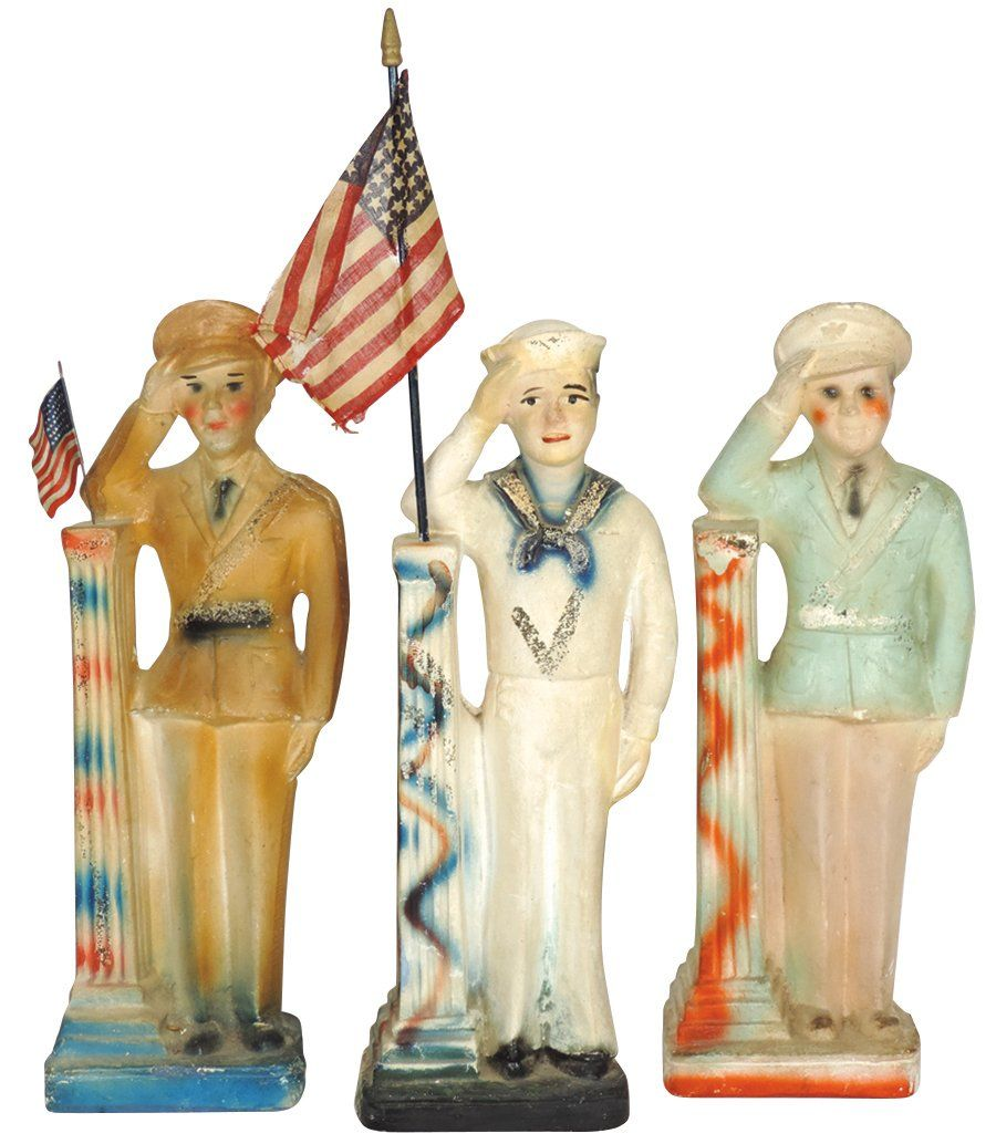 Carnival chalkware figures (3), Military Soldiers &